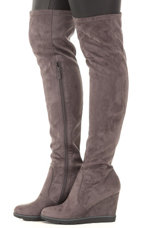 Stone Grey Faux Suede Over the Knee Wedged Boot side view