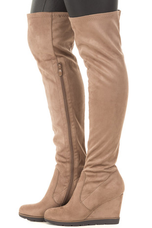 Taupe Faux Suede Over the Knee Wedged Boot side view