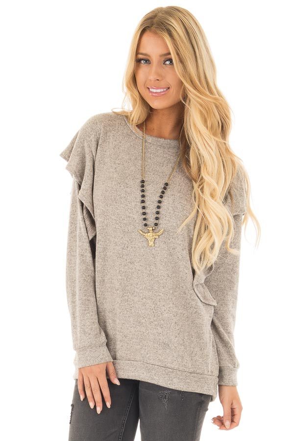 Mocha Two Tone Knit Dolman Sweater with Ruffle Detail front close up
