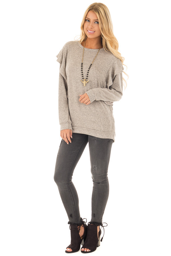 Mocha Two Tone Knit Dolman Sweater with Ruffle Detail front full body