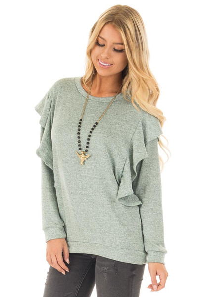 Blue Sage Two Tone Knit Dolman Sweater with Ruffle Detail front close up