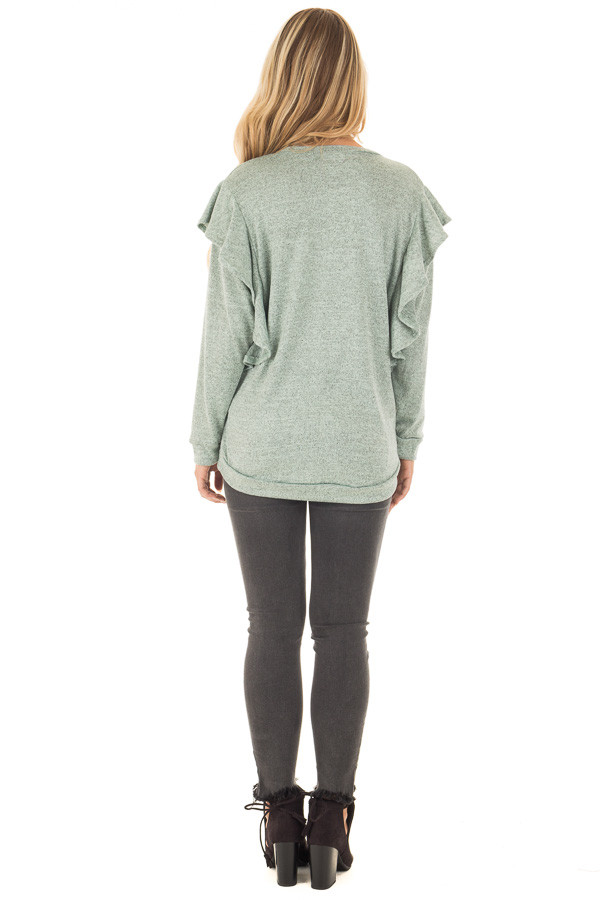 Blue Sage Two Tone Knit Dolman Sweater with Ruffle Detail back full body