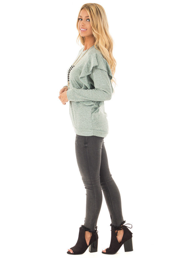 Blue Sage Two Tone Knit Dolman Sweater with Ruffle Detail side full body