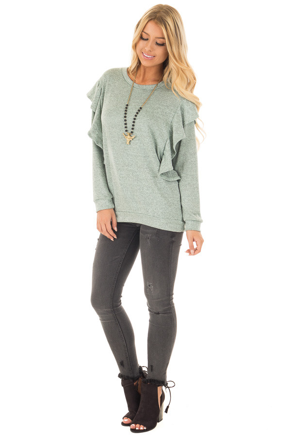 Blue Sage Two Tone Knit Dolman Sweater with Ruffle Detail front full body