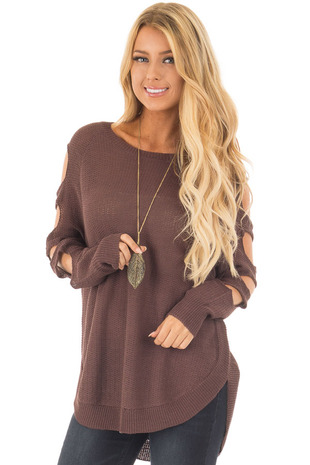 Dark Mocha Long Sleeve Ladder Cut Knit Sweater front close up