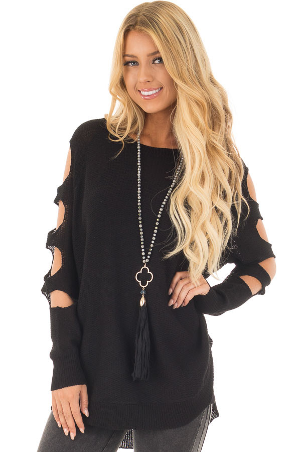 Black Long Sleeve Ladder Cut Knit Sweater front close up