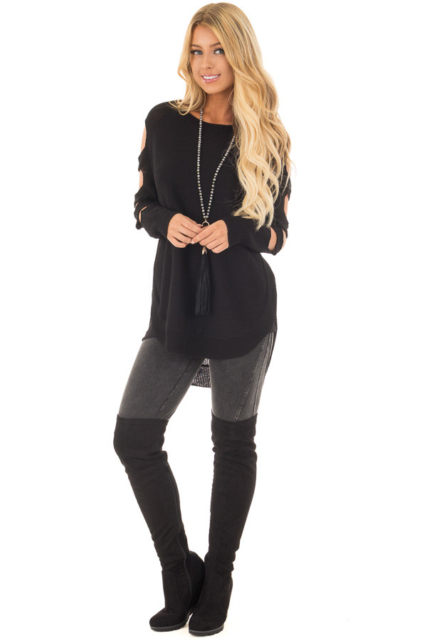 Black Long Sleeve Ladder Cut Knit Sweater front full body