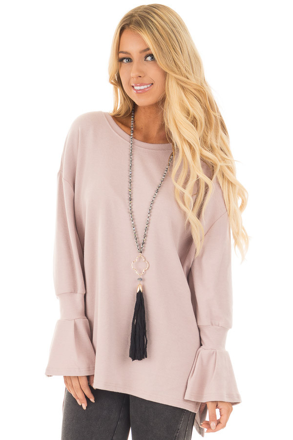 Dusty Blush Long Bell Sleeve Lightweight Sweater front close up