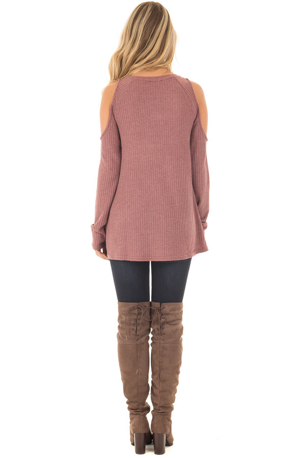 Marsala Thermal Knit Cold Shoulder Long Sleeve Top back full body