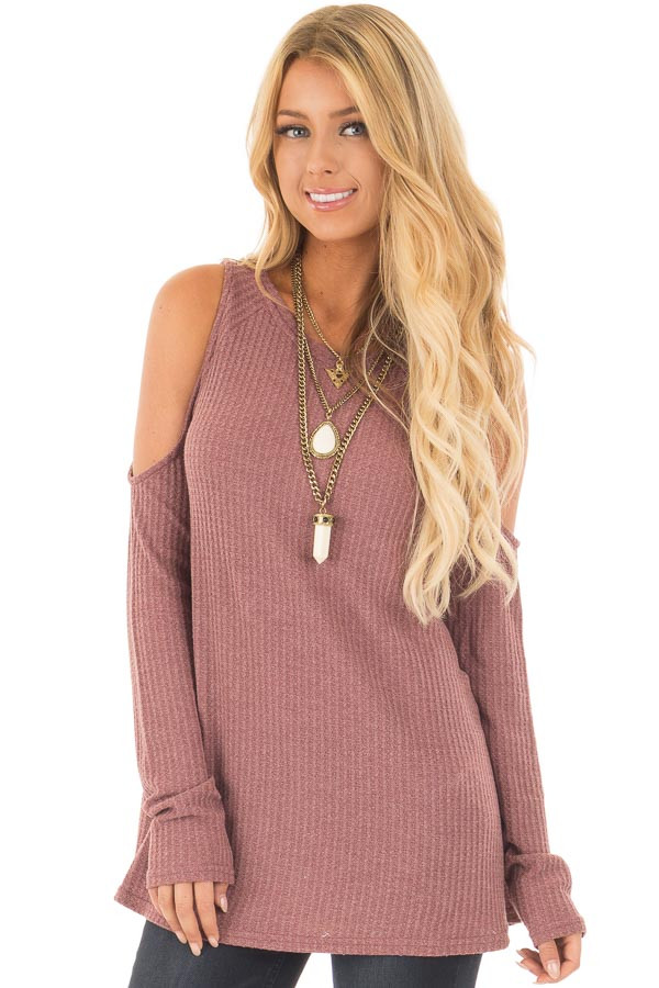 Marsala Thermal Knit Cold Shoulder Long Sleeve Top front close up