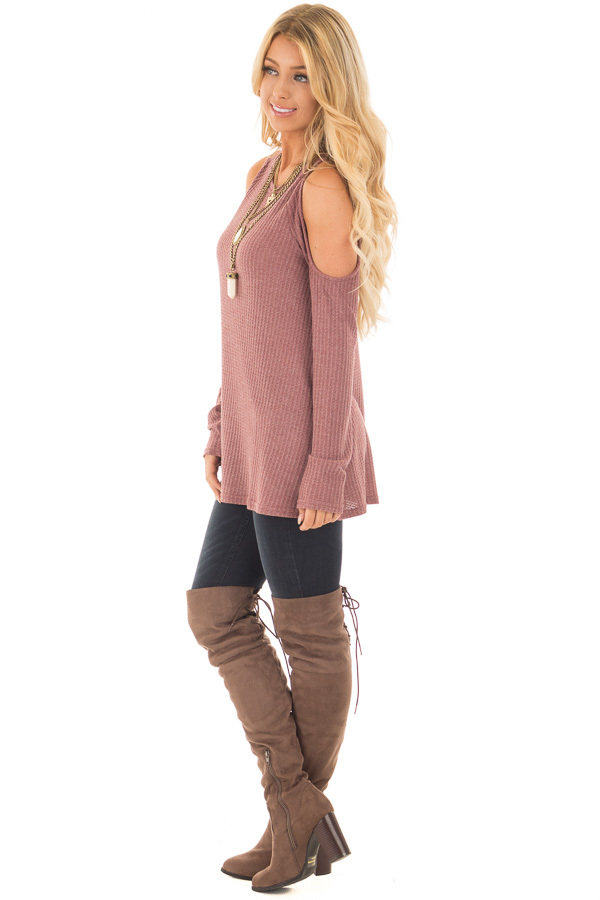 Marsala Thermal Knit Cold Shoulder Long Sleeve Top side full body