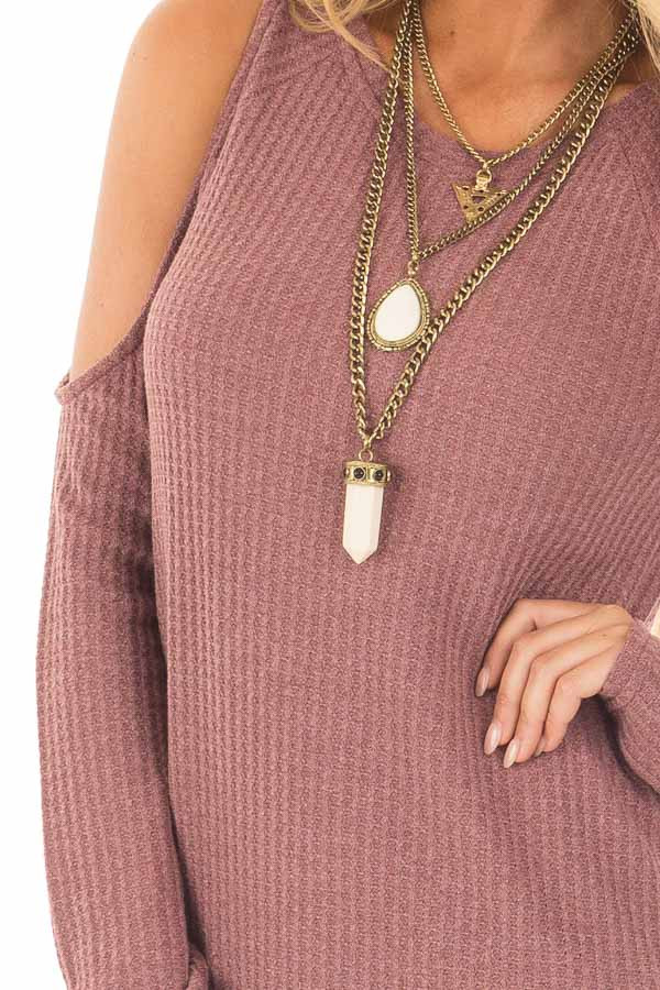 Marsala Thermal Knit Cold Shoulder Long Sleeve Top detail