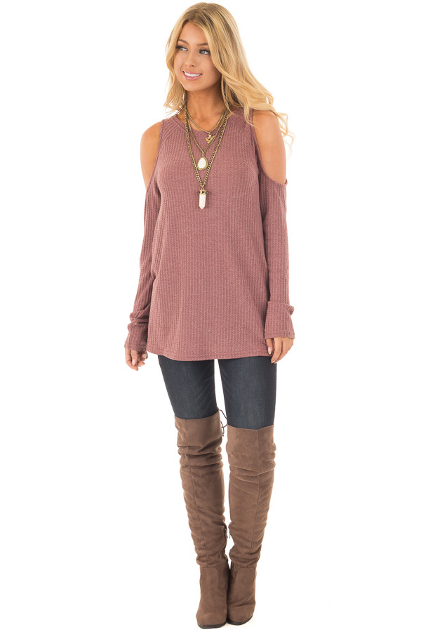 Marsala Thermal Knit Cold Shoulder Long Sleeve Top front full body