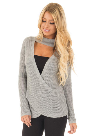 Heather Grey Knit Turtleneck Crossover Sweater front close up