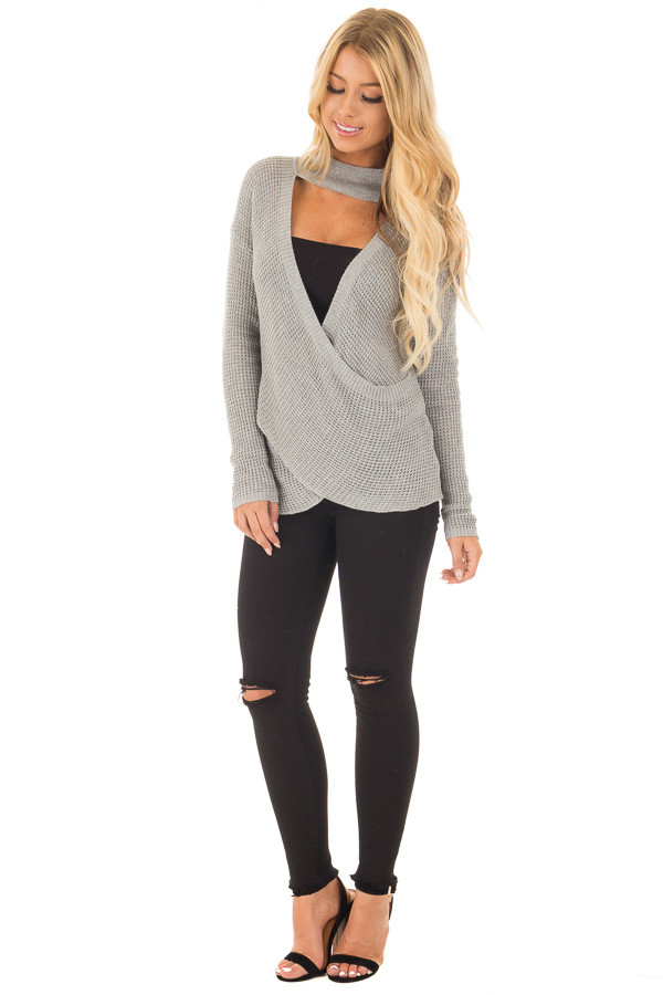 Heather Grey Knit Turtleneck Crossover Sweater front full body