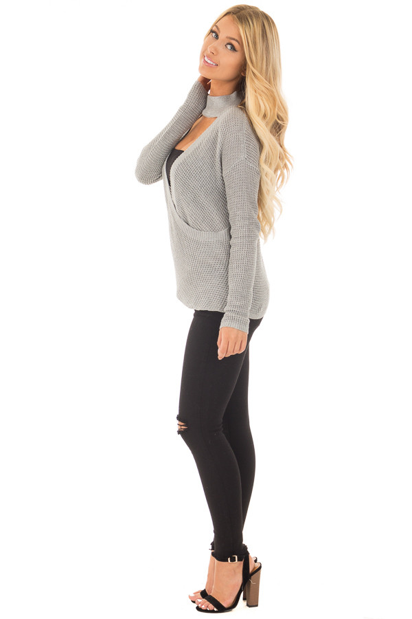 Heather Grey Knit Turtleneck Crossover Sweater side full body