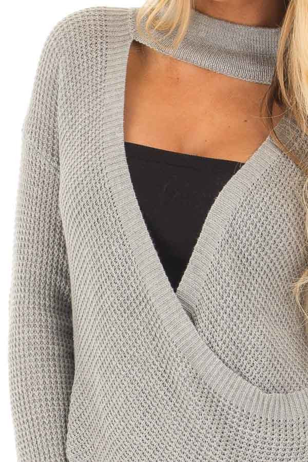 Heather Grey Knit Turtleneck Crossover Sweater detail