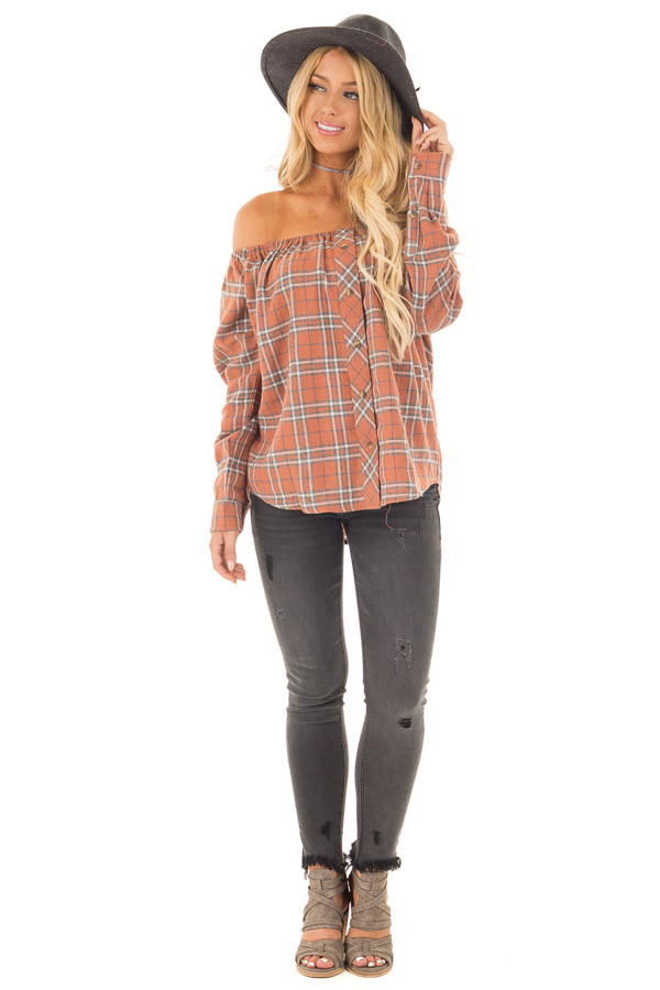 Rust Orange Plaid Off Shoulder Buttoned Flannel front full body