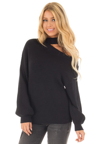 Black Bare Shoulder Knit Sweater with Mock Neck Band front close up
