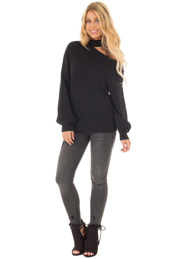 Black Bare Shoulder Knit Sweater with Mock Neck Band front full body