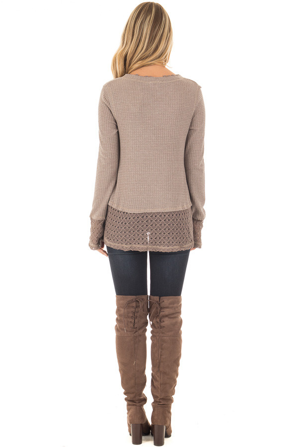 Mocha Thermal Top with Lace Sleeve and Hem Detail back full body