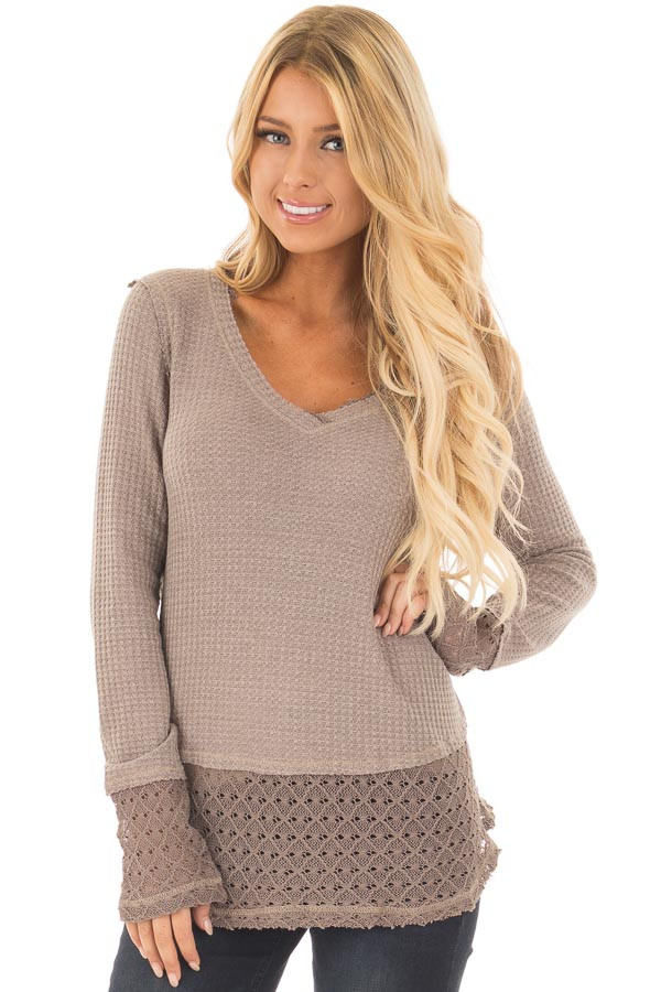 Mocha Thermal Top with Lace Sleeve and Hem Detail front close up