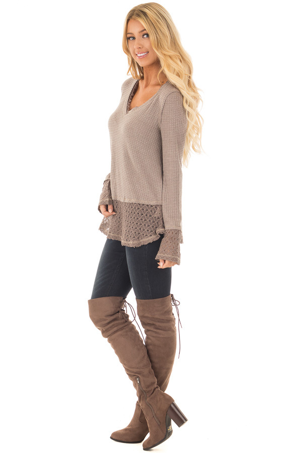 Mocha Thermal Top with Lace Sleeve and Hem Detail side full body