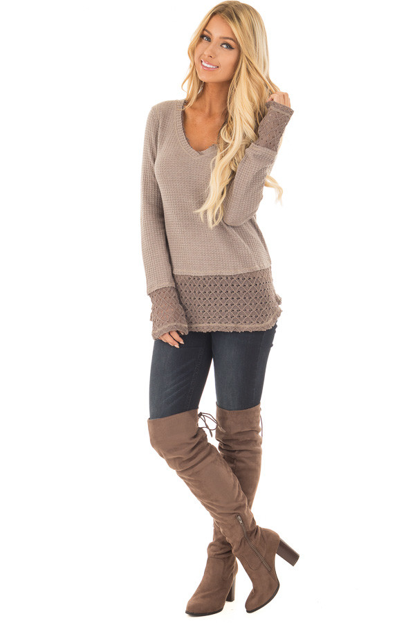 Mocha Thermal Top with Lace Sleeve and Hem Detail front full body