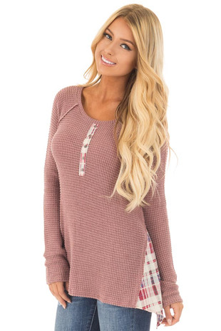 Mauve Thermal Knit Long Sleeve Top with Plaid Contrast Sides close up