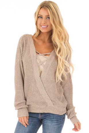 Taupe Two Tone Reversible Sweater with Criss Cross Details front close up