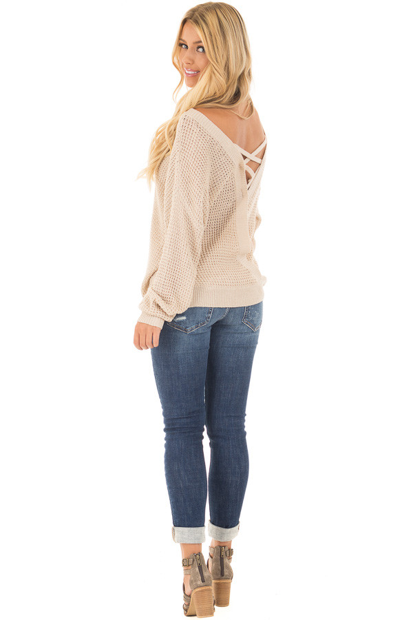 Beige Two Tone Reversible Sweater with Criss Cross Details back side full body