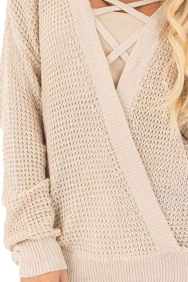 Beige Two Tone Reversible Sweater with Criss Cross Details detail