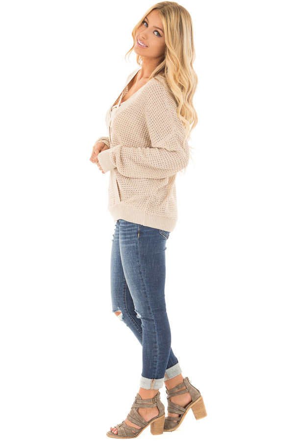 Beige Two Tone Reversible Sweater with Criss Cross Details side full body