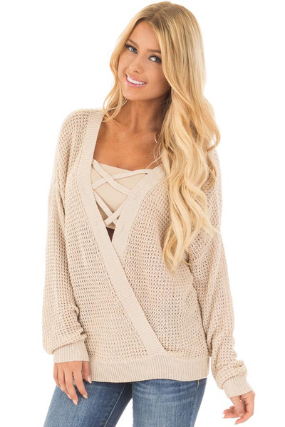 Beige Two Tone Reversible Sweater with Criss Cross Details front close up