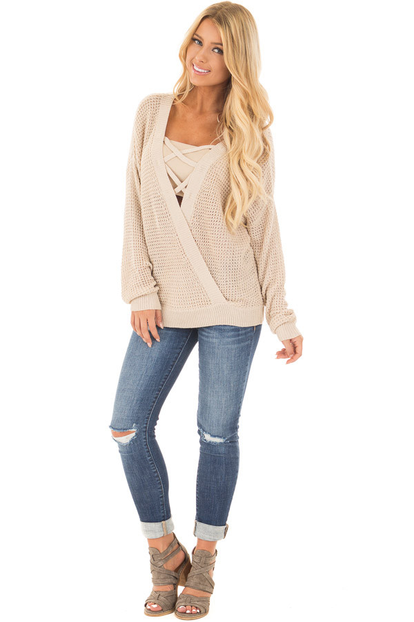 Beige Two Tone Reversible Sweater with Criss Cross Details front full body