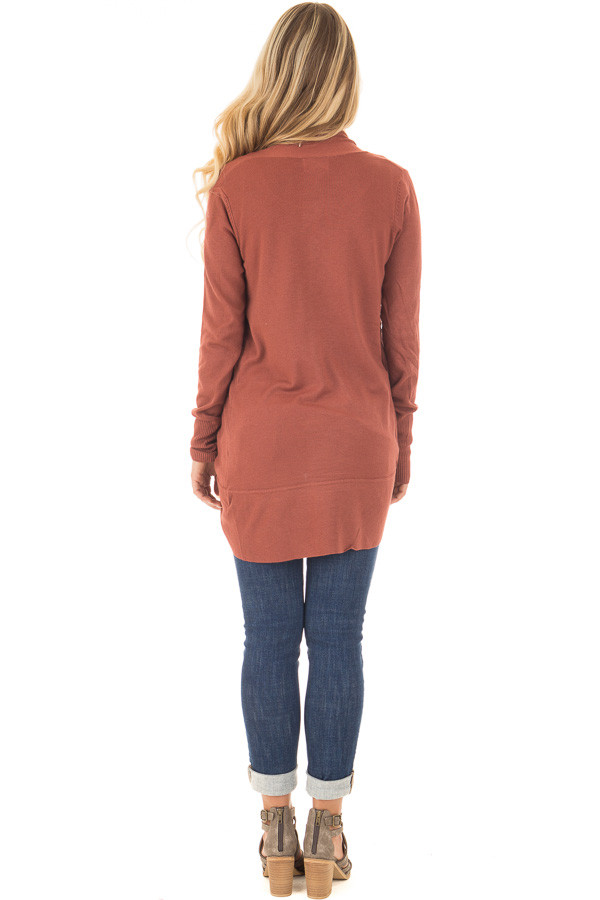 Brick Super Soft Long Sleeve Open Cardigan back full body