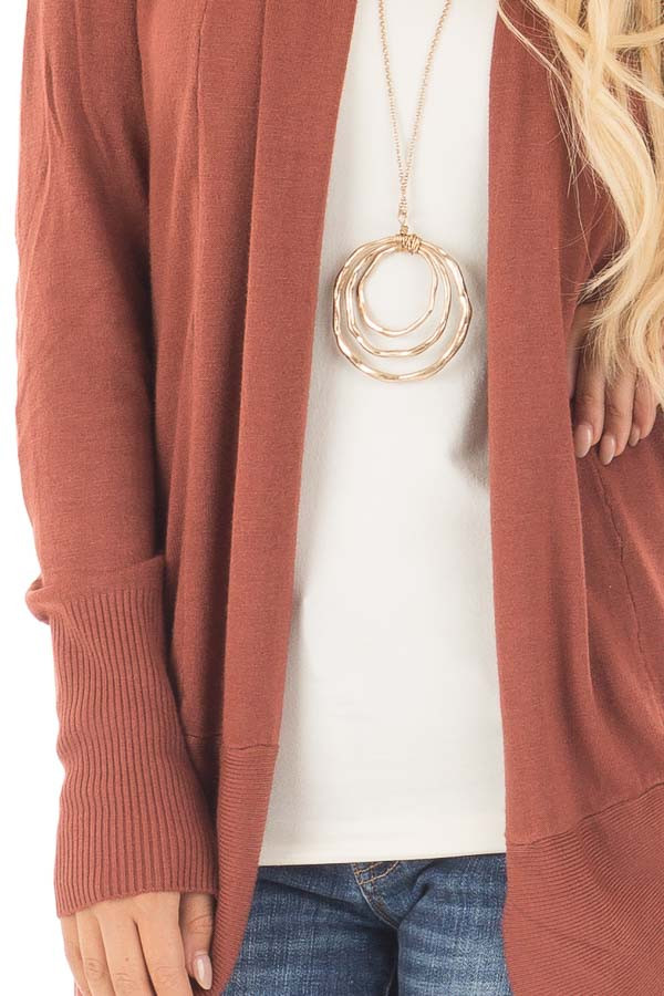 Brick Super Soft Long Sleeve Open Cardigan detail