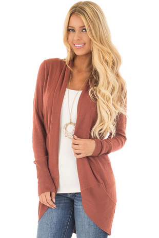 Brick Super Soft Long Sleeve Open Cardigan front close up