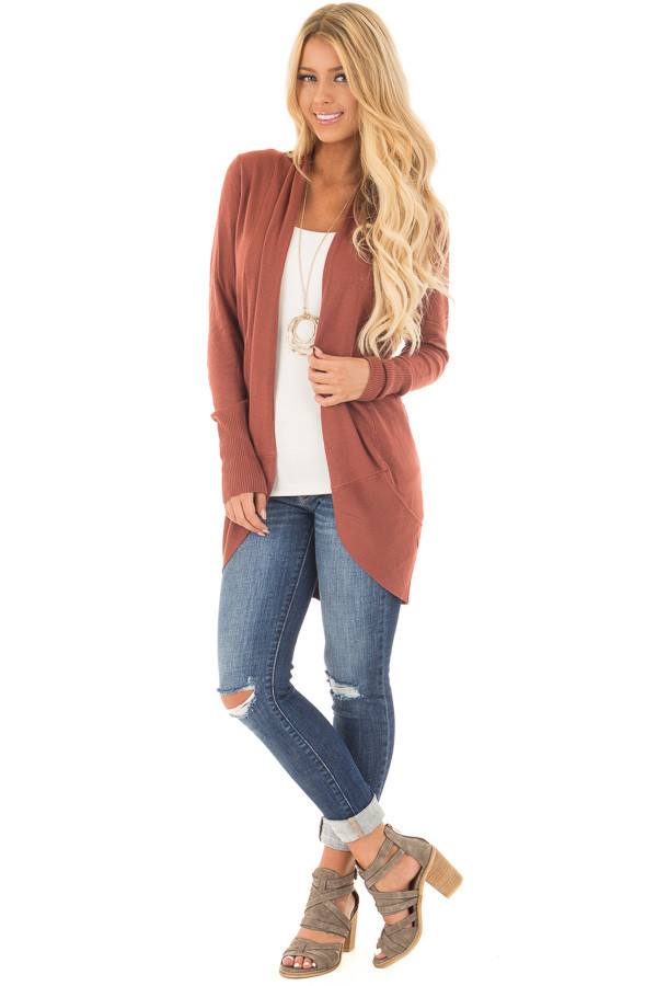 Brick Super Soft Long Sleeve Open Cardigan front full body