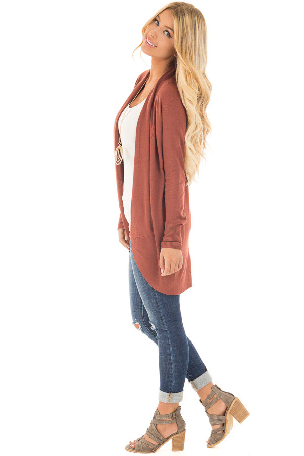 Brick Super Soft Long Sleeve Open Cardigan side full body