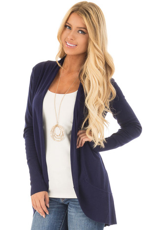 Twilight Navy Super Soft Long Sleeve Open Cardigan front close up