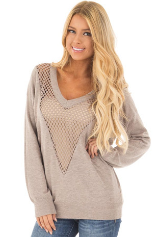 Light Mocha Soft Knit V Neck Sweater with Sheer Mesh Details front close up