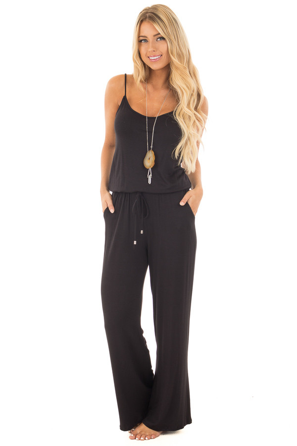 Black Sleeveless Jumpsuit with Elastic Waist Tie front full body