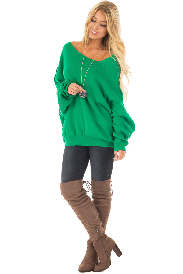 Kelly Green Bare Shoulder Long Sleeve Sweater front full body