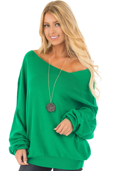 Kelly Green Bare Shoulder Long Sleeve Sweater front close up
