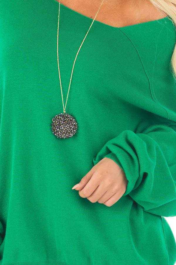 Kelly Green Bare Shoulder Long Sleeve Sweater detail