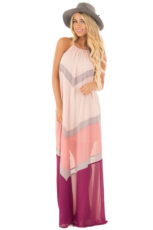 Peach Chiffon Maxi Dress with Chevron Color Blocks front full body