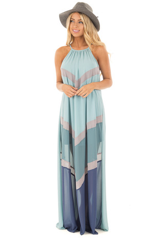 Mint Chiffon Maxi Dress with Chevron Color Blocks front full body