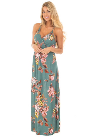 Teal Floral Print Open Back Maxi Dress front full body
