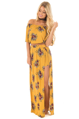 Mustard Floral Print Crop Top and Skirt Set front full body